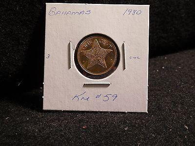 BAHAMA ISLANDS:   1980   1 CENT  COIN    (UNC.)    (#3101)  KM # 59