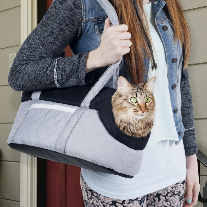 PETMAKER Cozy Cat Travel Pet Carrier -Grey/Black- Free Shipping