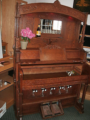 Antique Oak Pulman Pump organ Repurpose Bar with locking cabinet led lights 1906