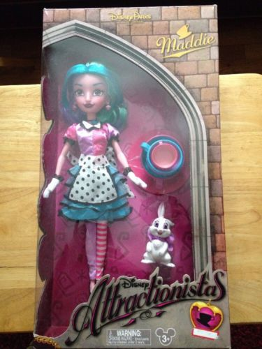 Disney Parks Attractionistas Maddie Mad Tea Party 12 in Doll with White Rabbit