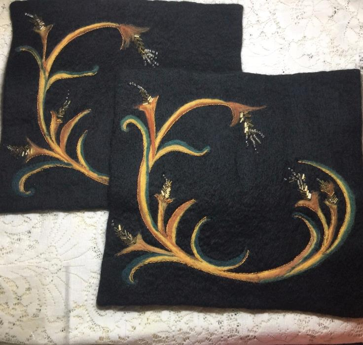 Needle Felted OOAK Table Decor Placemats Pair Black Gold Beaded
