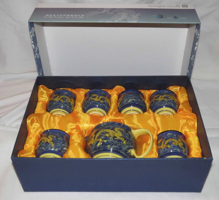 Tarrington House Golden Dragon Teapot and Cup 7 piece set - NIB