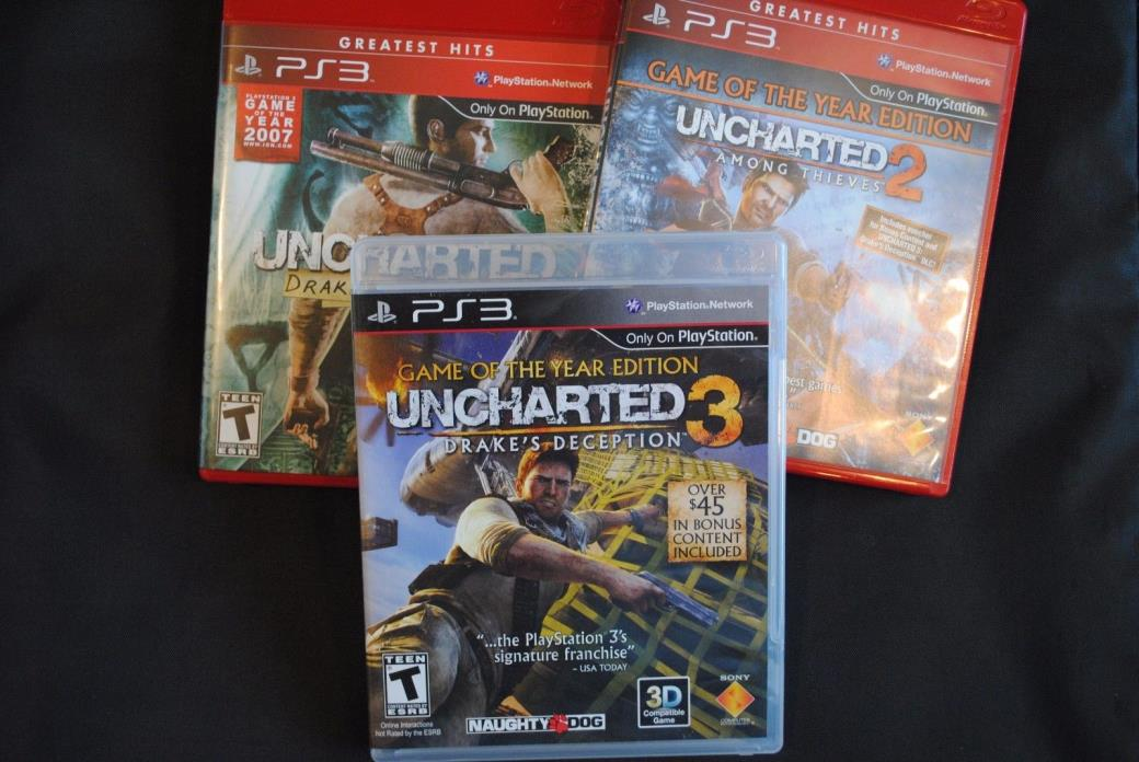 Uncharted 1 2 & 3 PlayStation 3 PS3 Game Lot Drake's Game of the Year Trilogy