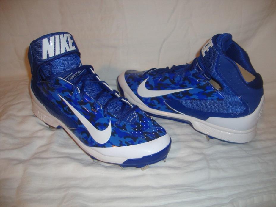 Nike 599235 Men Air Huarache Pro Metal Mid Baseball Cleats Size 11.5 Blue Camo