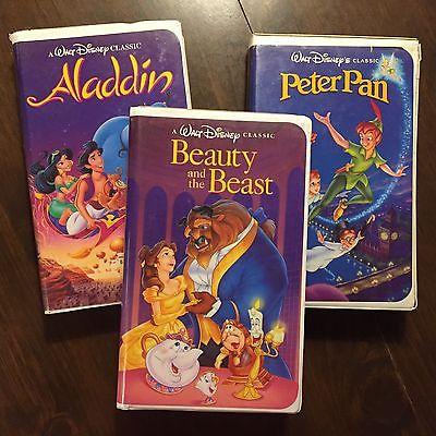 RARE Disney Black Diamond 3 VHS Lot: Aladdin, Beauty and the Beast and Peter Pan
