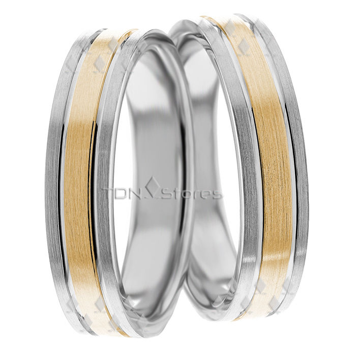 10K GOLD TWO TONE MATCHING WEDDING BAND SET HIS HERS BANDS RING MENS WOMENS RING