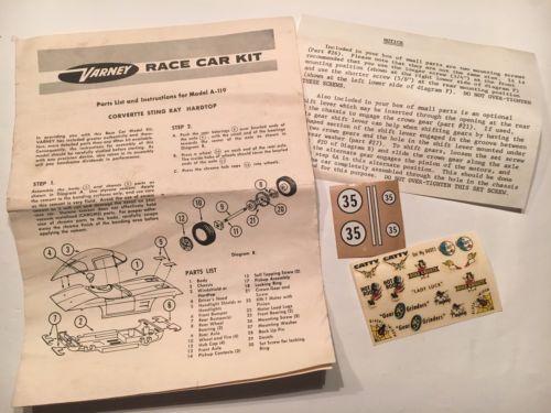 1960's Varney Corvette Stingray Race Car Instructions A-119 w/ Original Decals
