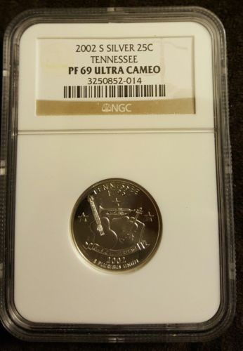 2002 S Silver 25C Tennessee PF 69 Ultra Cameo