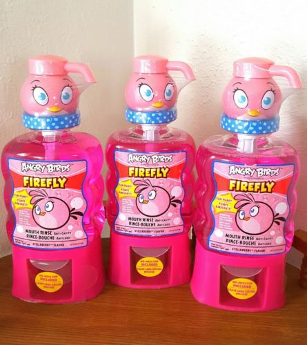 3 ANGRY BIRDS Firefly Anti Cavity Fluoride Mouth Rinse Wash STELLABERRY 16 fl oz