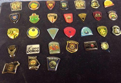 Lot of Vtg  State City Police  Hat Lapel Service Badge Pins  Boston Detroit Etc