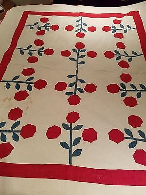 Red, White and Blue Appliqued Hexagon Flower Quilt