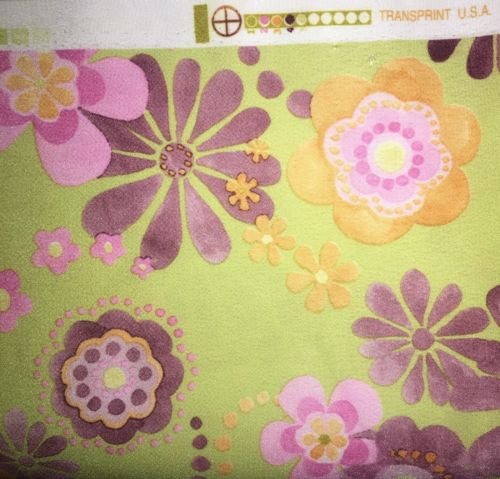 2 1/2{+}Yrds X58 Retro Transprint USA Green/Purple Fun Floral Home Decor Fabric