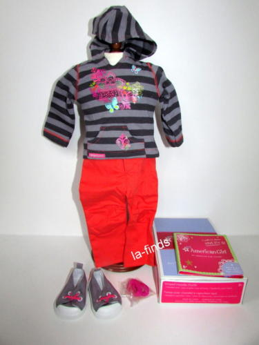AMERICAN GIRL DOLL TRULY ME STRIPED HOODIE OUTFIT PANTS SHOES HAIRBAND CHARM NIB