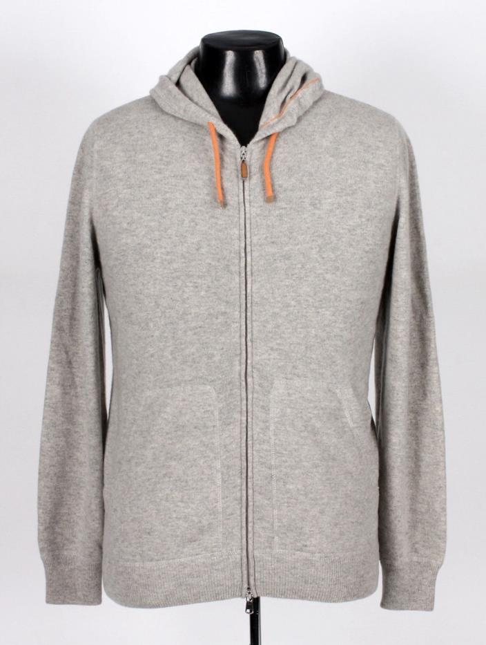 $2275 BRUNELLO CUCINELLI 100% CASHMERE Hooded Hoodie Sweater - Gray - 48 M