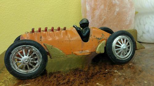 1930s Hubley Gold Fin Golden Arrow Racer Race Car Original Orange & Gold Paint