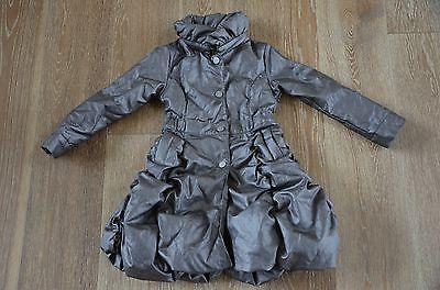 JOTTUM Girls Gray Metallic Puffy Bubble Bowly Coat Size 5-6 NWT