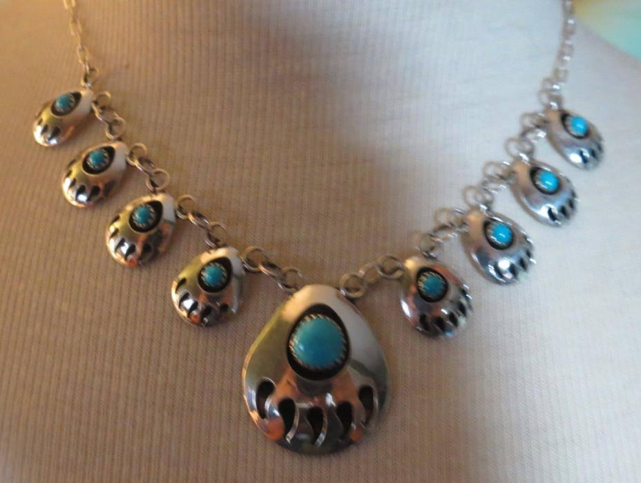 Vintage Turquoise Bear Paw Design Silver Shadow Box Necklace - signed SJ