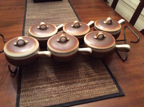 Vintage West Coast California Pottery Covered Onion Soups w/ Wrought Iron Stand
