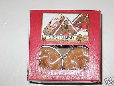 Yankee Candle GINGERBREAD Box of 12 Tea Lights Tealights HTF