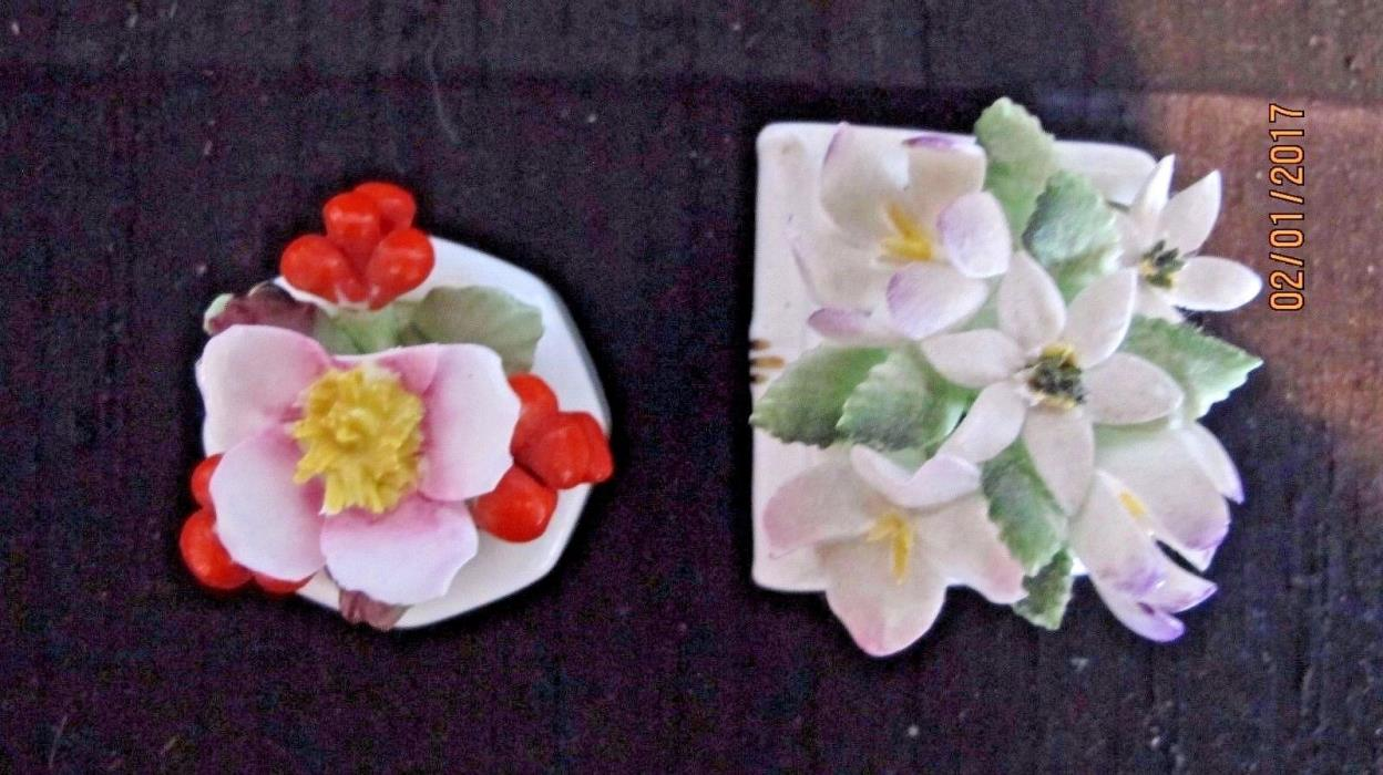 Two Ornate Porcelain Paper Weights Royal Doulton and Ainsley from England