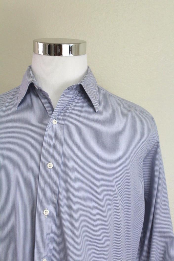 IKE BEHAR BLUE striped 100% COTTON DRESS SHIRT 15.5-33 french cuffs