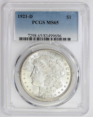 1921 D Morgan Silver Dollar MS 65 PCGS (#9696)