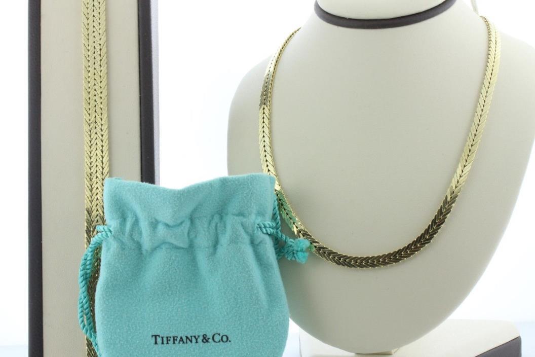 Vintage Tiffany & Co. 14K 585 Gold Germany Chevron Link Necklace & Bracelet Set
