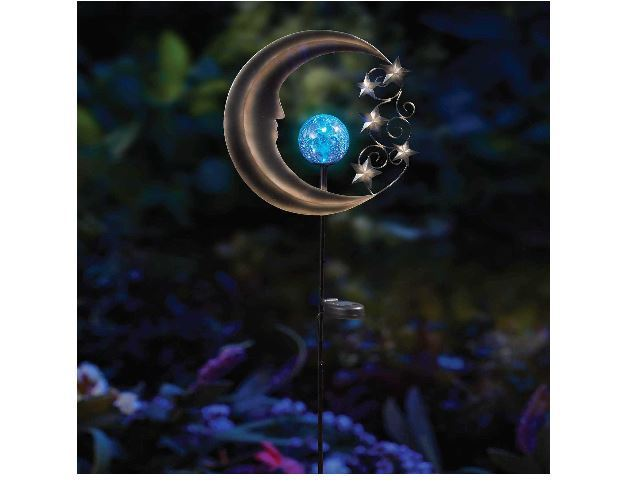 NEW Solar Moon Garden Stake LED Battery 8 hours Yard Pathway Patio Silver/Blue
