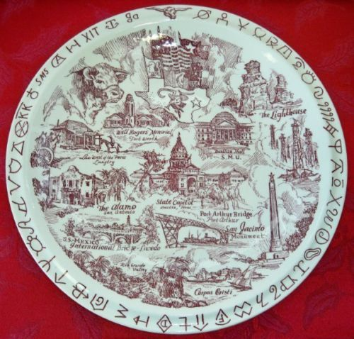 Vernon Kilns Lone Star State TEXAS vintage collector plate~artist signed