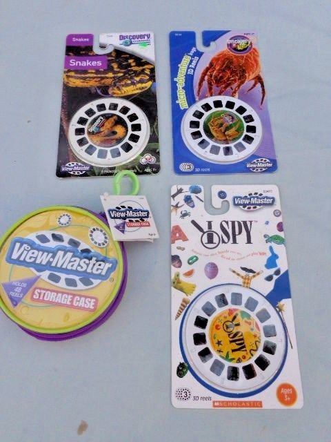 NEW View-Master Case + 3 Pack 3 Reels Discovery Channel SNAKES, Kids BUGS, I SPY