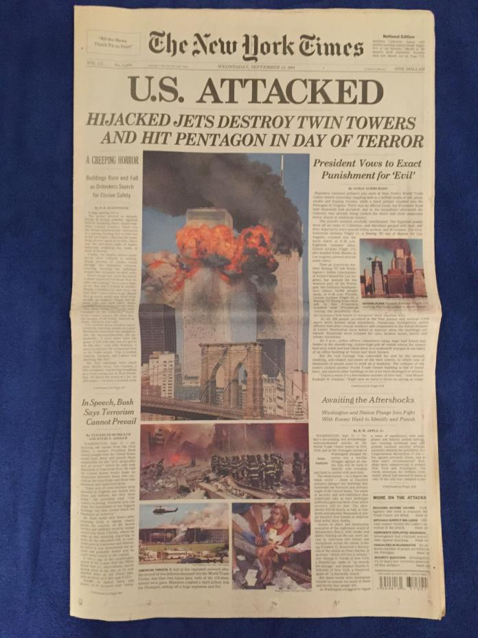 THE NEW YORK TIMES SEPTEMBER 12, 2001 9-11 WORLD TRADE CENTER NATIONAL EDITION