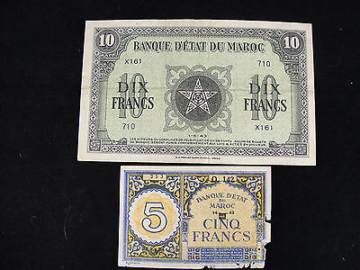 1943 Morocco 5, 10, Franks WWII Issue x161 Free shipping!