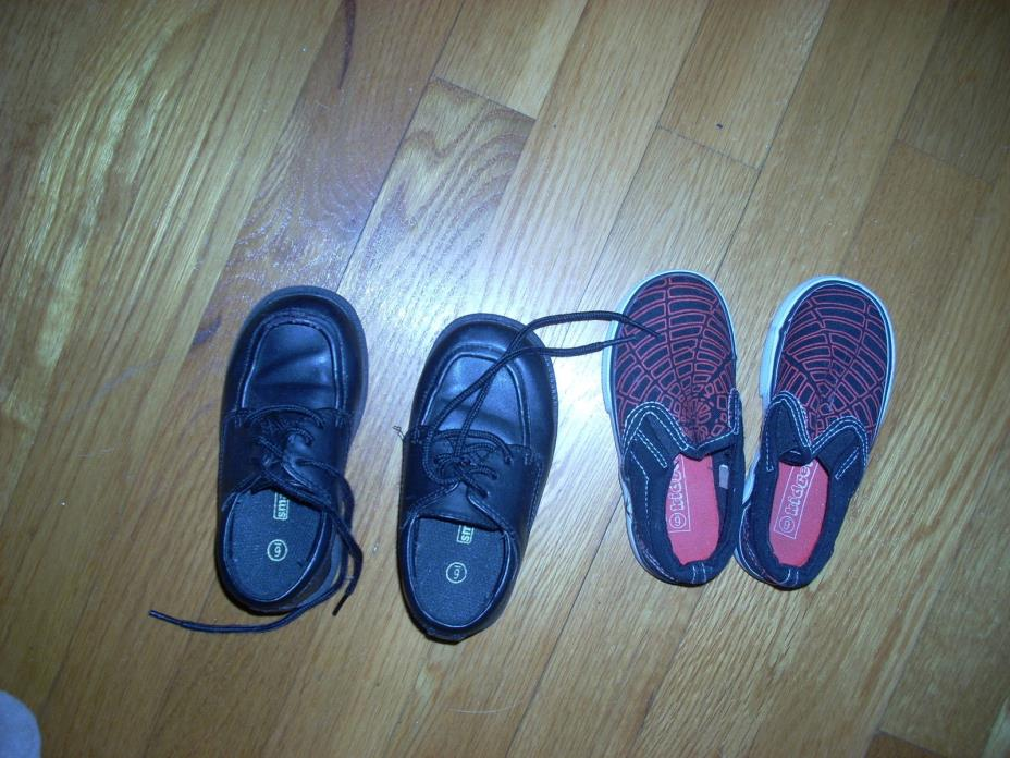 LOT 2 CUTE Spider Sneakers VGC & Dress Shoes 6 Used x2 TODDLER Boys LOT Sz 6
