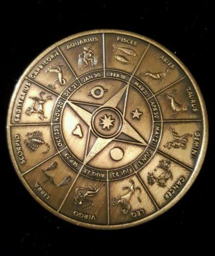 vintage zodiac brass coin token