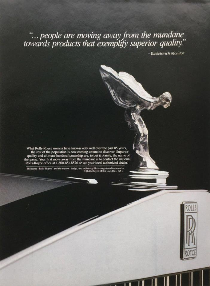 1988 ROLLS ROYCE Superior Quality Mascot Badge ORIGINAL  PRINT AD