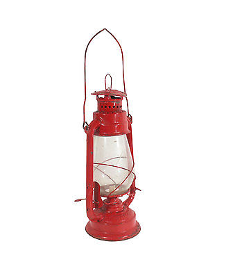 Indian Lantern, Red Metal, Oil Lamp