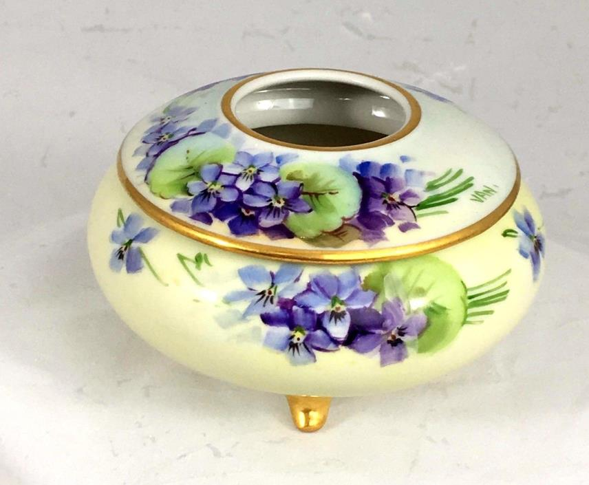 B & Co Limoges Hair Receiver, Hand Painted W/Violets, Four Feet, GREAT GIFT!