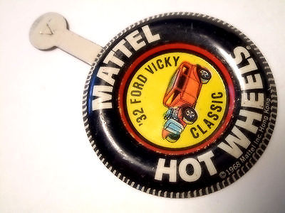 Vintage REDLINE Hot Wheels METAL BADGE/BUTTON  -----  CLASSIC '32 FORD VICKY
