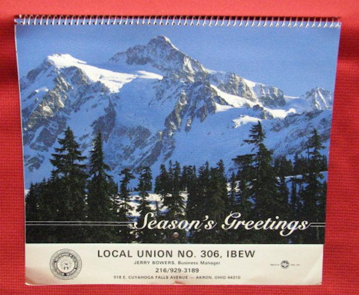 UNUSED calendar - 1993 - Local Union NO. 308, IBEW - Akron, Ohio