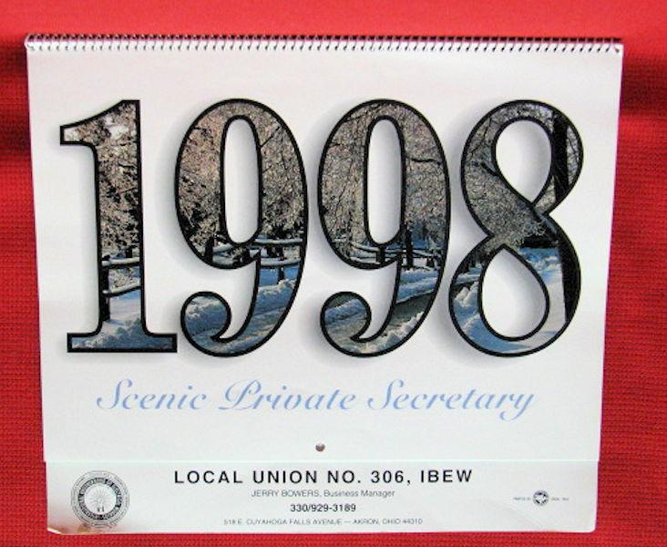 UNUSED calendar - 1998 - Local Union NO. 308, IBEW - Akron, Ohio
