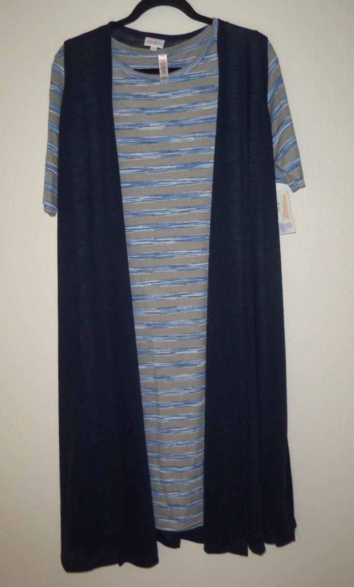 NWT Lularoe Med Julia Dress White Blue White Stripes Matching Med Joy Vest