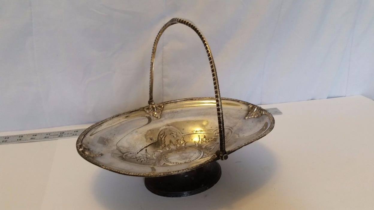 Meriden B1690 Silver Plate Basket Wedding Footed Handle Plate 1690 FREE SHIP