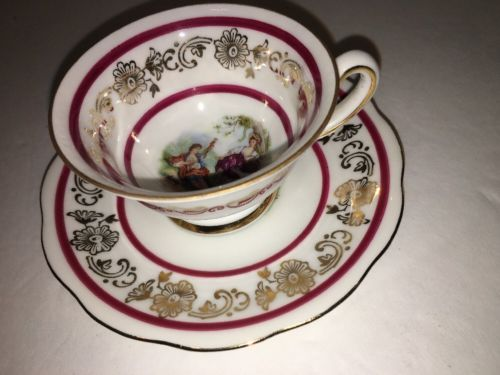 Mitterteich Bavaria Demitasse Cup & Saucer with Romantic Scenes
