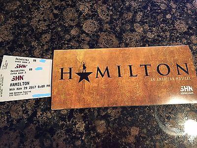 Hamilton San Francisco Orpheum Theatre 3/29/17 8:00 PM - Orchestra Row BB
