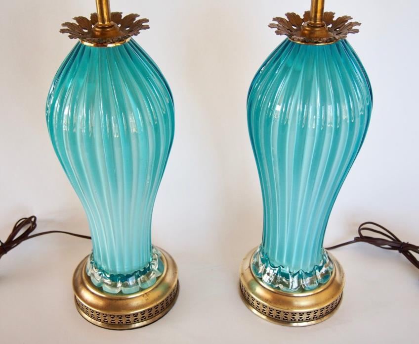 Pair Mid-Century Modern Blue Murano Italian Glass Lamps