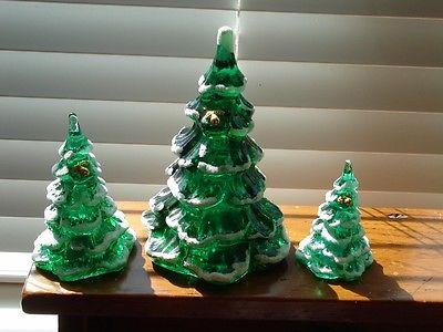 Fenton Green with Snow Christmas Trees Set of 3
