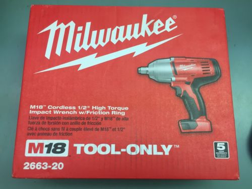 MILWAUKEE – 2663-20 18V 1/2? HIGH TORQUE IMPACT WRENCH WITH FRICTION RING