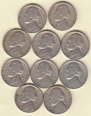 1938-S (10) COIN  QUARTER ROLL/JEFFERSON NICKELS/KEY DATE/FAST SHIPPING!!