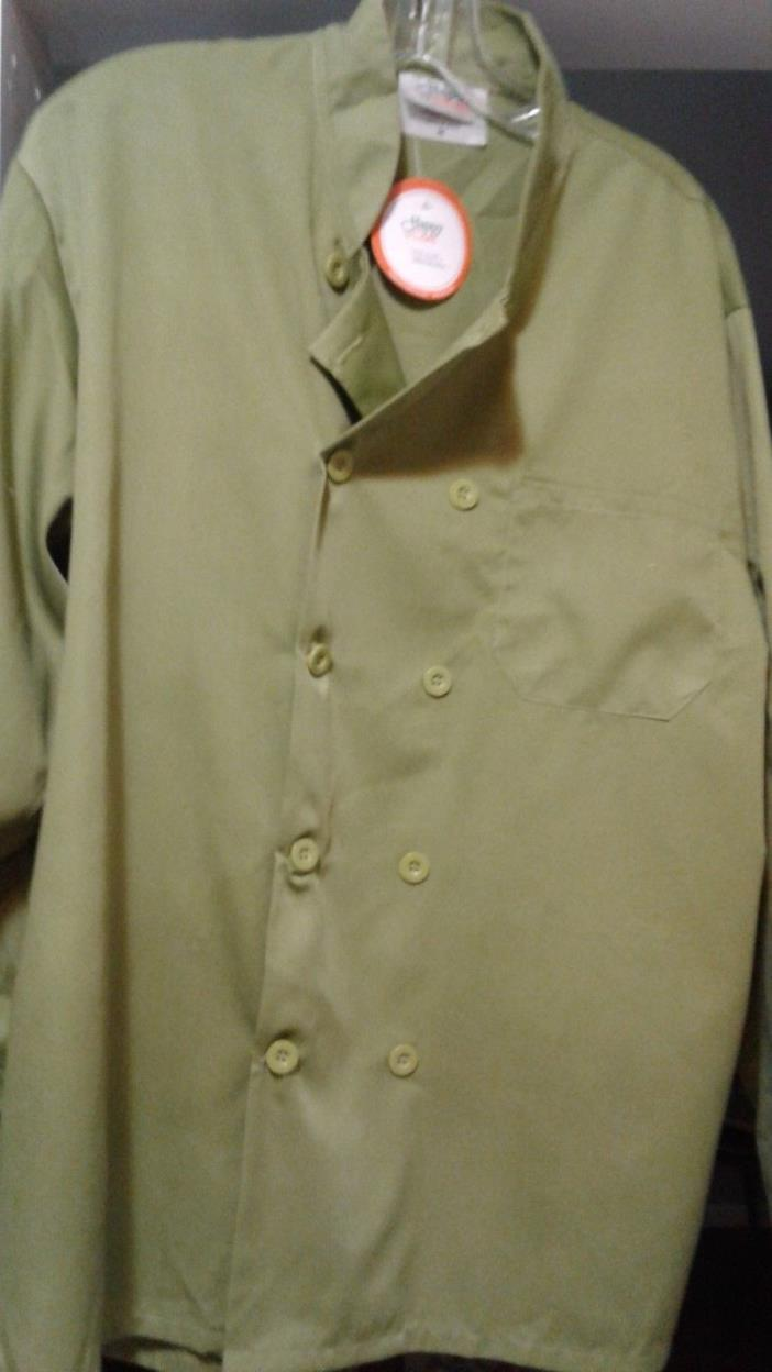 HAPPY CHEF WORK COAT, NEW WITH TAGS.. OLIVE GREEN, SIZE MEDIUM
