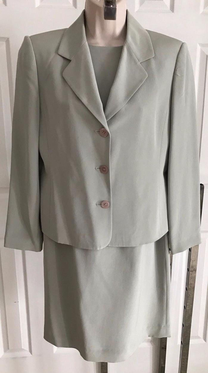 NEW Talbots Petite silk moss green dress jacket set suit 6